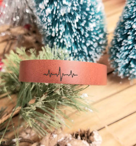 Leather Cuff Bracelet - Heartbeat
