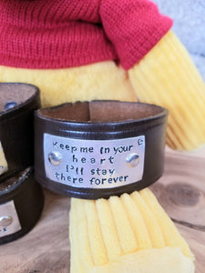 Rememberance - Loved Ones - Belt Made into a Hand Stamped Cuff Bracelet