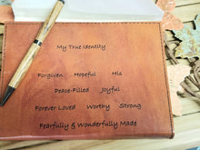 Load image into Gallery viewer, Leather Engraved Journal Notebook My True Identity - Inspirational- Gift