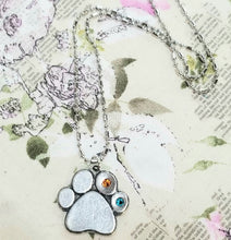 Load image into Gallery viewer, Paw Print Birthstone Pewter Pendant Necklace - You Customize