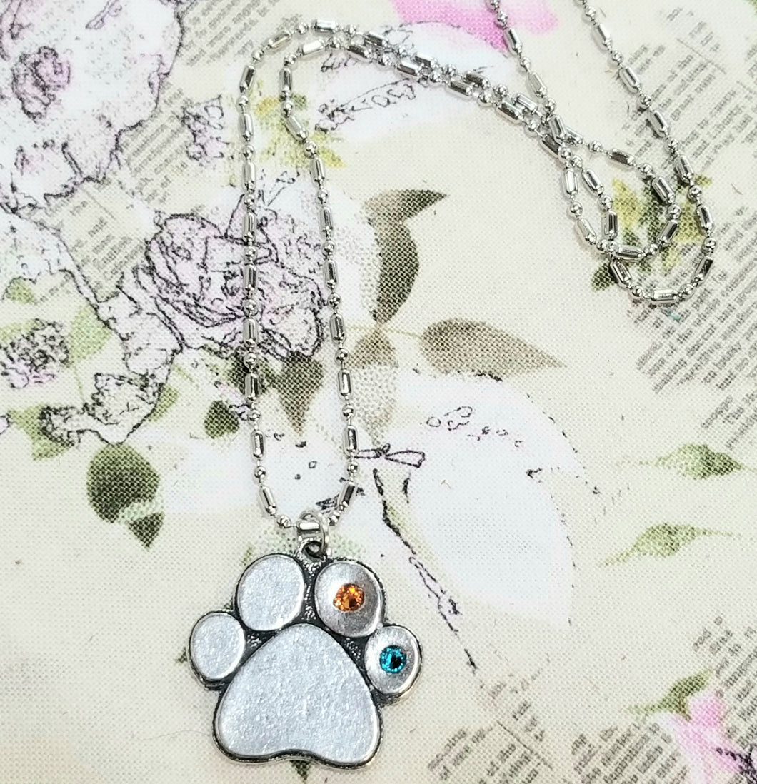 Paw Print Birthstone Pewter Pendant Necklace - You Customize