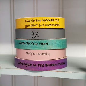 Leather Cuff Bracelet - Live For The MOMENTS You Can't Put Into Words - Inspirational