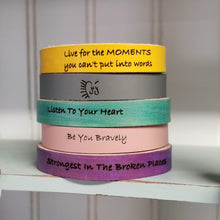 Load image into Gallery viewer, Yellow Leather Engraved Cuff - Choose Your Own Words