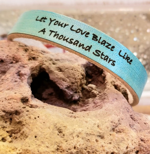 Turquoise Leather Engraved Cuff - Choose Your Own Words