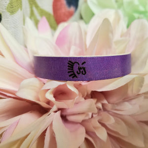 Purple Leather Engraved Cuff - Choose Your Own Words