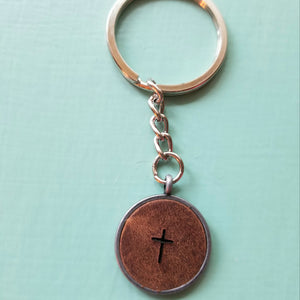 Leather Pendant Inspirational Keychain - Encourage