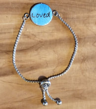 Load image into Gallery viewer, Engraved Leather Cuff Pendant Bracelet - Choose your word- Encouragement