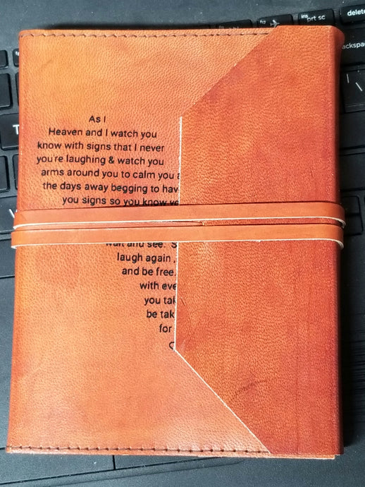 As I sit in heaven poem Leather Engraved Journal Notebook- personalize Gift