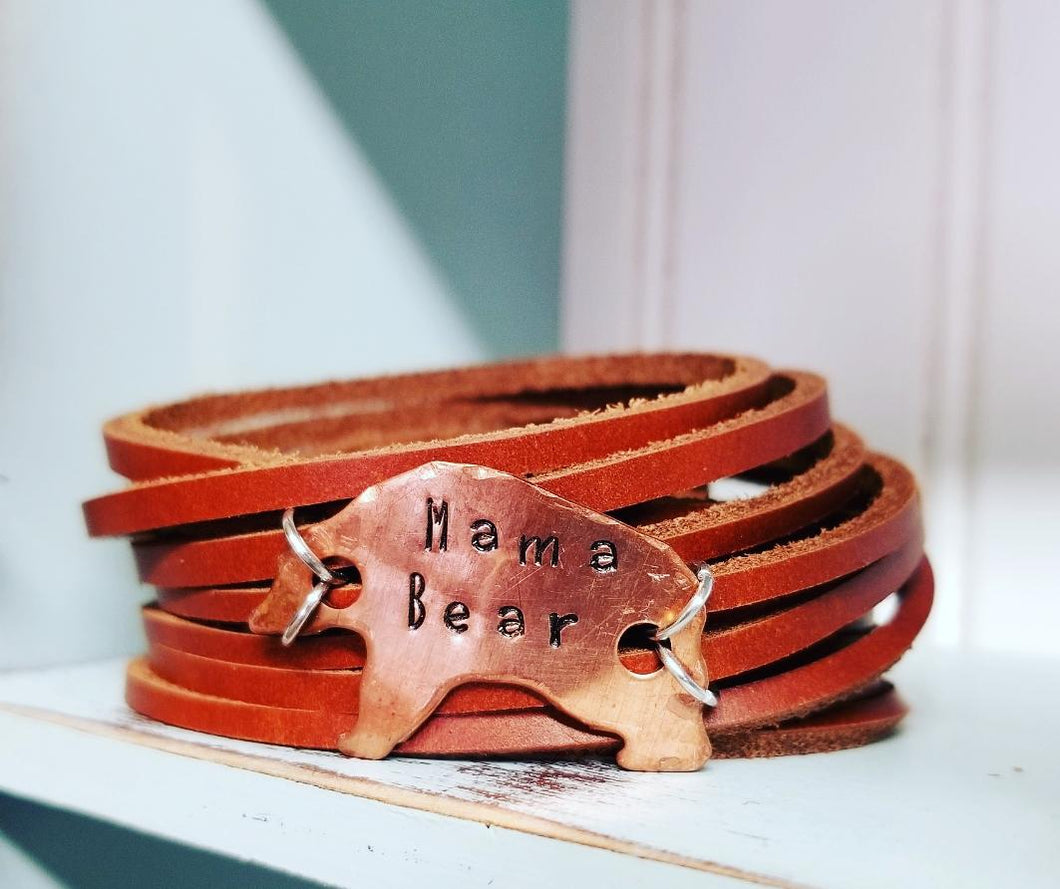 Double Wrap Shred Cuff  Mama Bear