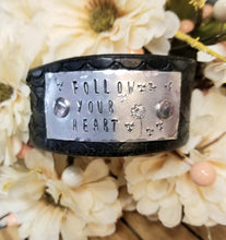 Load image into Gallery viewer, Rememberance - Loved Ones - Belt Made into a Hand Stamped Cuff Bracelet