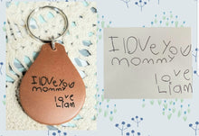 Load image into Gallery viewer, Handwriting Leather Keychain - Key Ring - Loved ones - Childs Artwork - Rememberance - Gift
