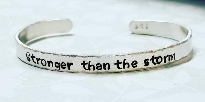 Hand Stamped Cuff Bracelet - Silver - You can customize