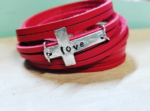 Double Wrap Leather Shred Cuff  Faith Hope Love