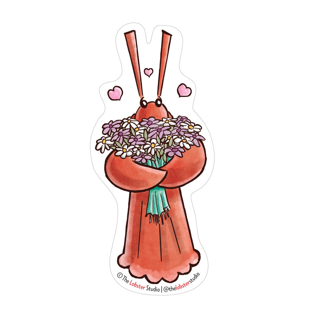 Little Lobster with Flowers Vinyl Sticker