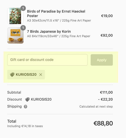 Get 20% off your order if you spend more than 100€