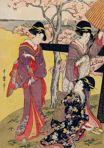 """Three Gueixas at Cherry Blossom Garden"" by Utamaro Kitagawa"