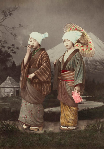 Japanese Travellers by Kimbei Vintage Photography