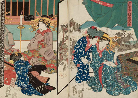 Scene of the Temporary Quarters of the New Yoshiwara by Utagawa Kunisada