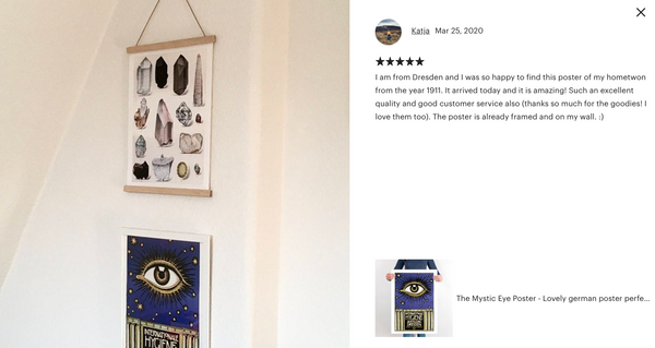 KURIOSIS client using our vintage posters in their home decor, kitchen decor, bedroom decor