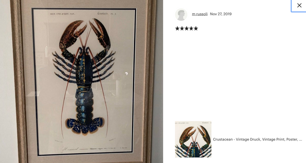 A classic framed Lobster Print