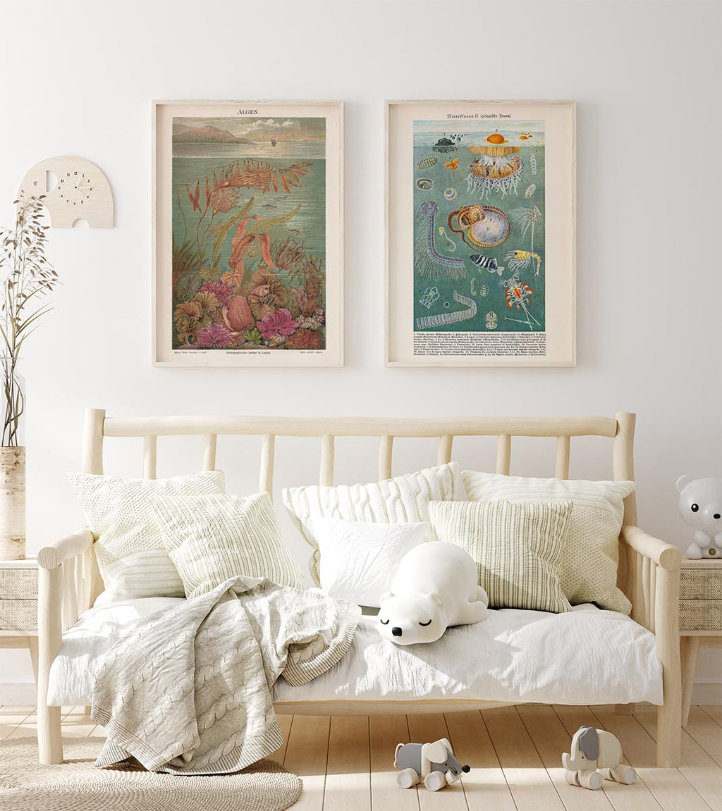 Sea Life Poster Set of 2 Prints