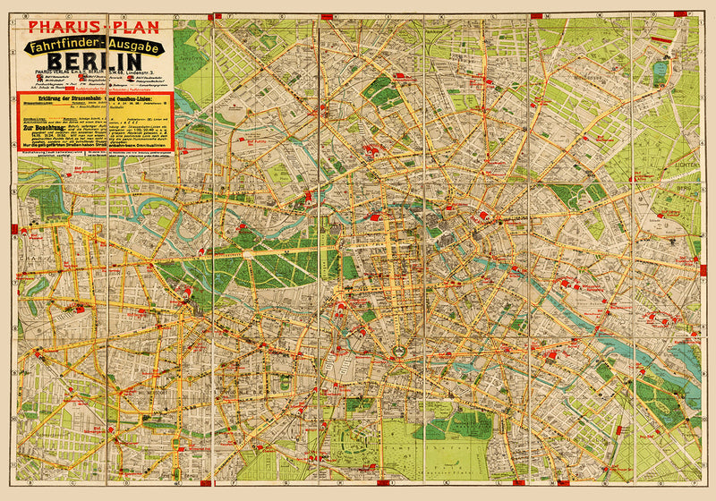 1922 Berlin Pharus Map Poster - Perfect for Living Room ! - Kuriosis Vintage Prints