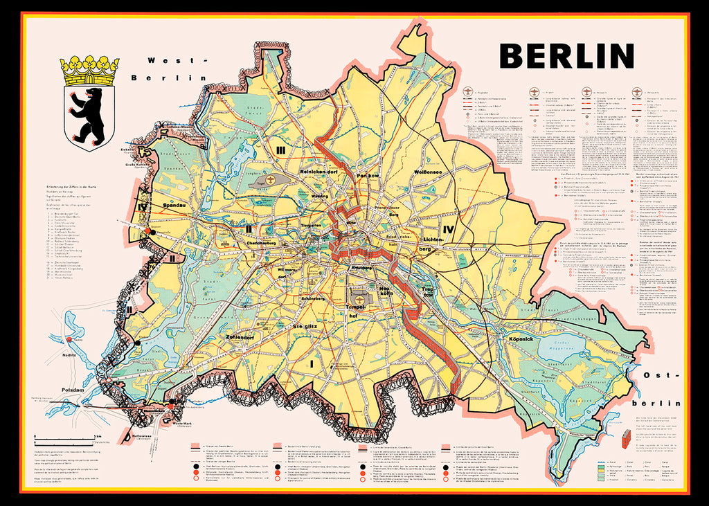 1961 Berlin Cold War Map Poster - Perfect for Living Room ! - Kuriosis Vintage Prints