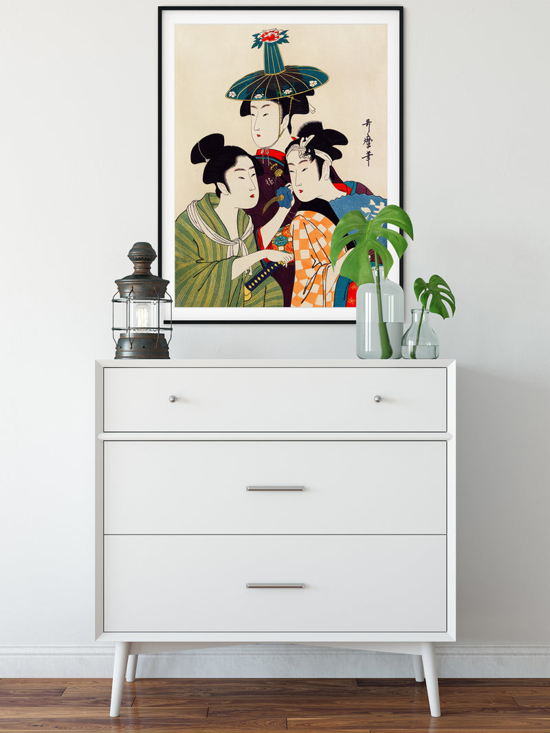 3 Geishas and a Blue Hat by Kitagawa - Kuriosis Vintage Prints