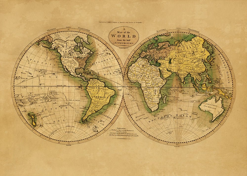 A Map of the World from the best Autorithies- Ancient World Map Poster