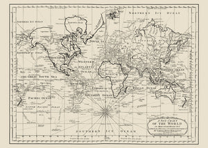 Antique World Map Chart of the World Poster