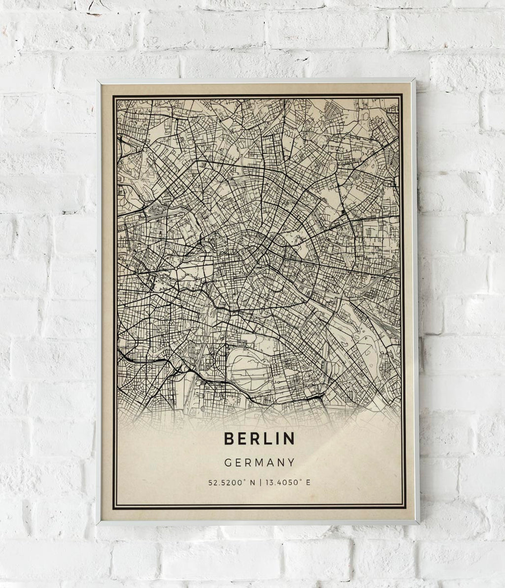 Berlin City Map Sepia Poster