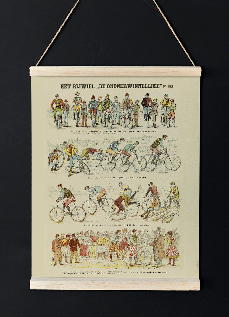 Vintage Bikers Chart - Lovely antique poster for room decor