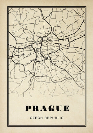 Prague City Map Sepia Poster
