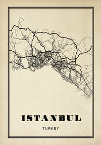 Istanbul City Map Sepia Poster