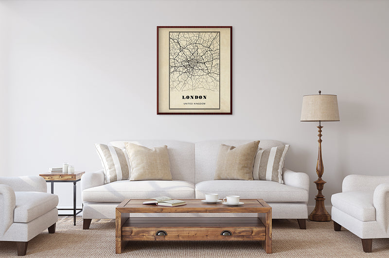 London City Map Sepia Poster