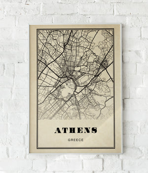 Athens City Map Sepia Poster
