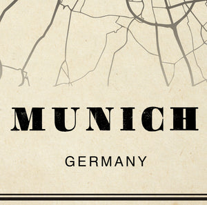 Munich City Map Sepia Poster