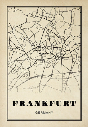 Frankfurt City Map Sepia Poster