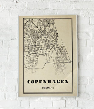 Copenhagen City Map Sepia Poster