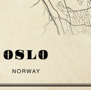 Oslo City Map Sepia Poster