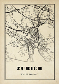 Zurich City Map Sepia Poster