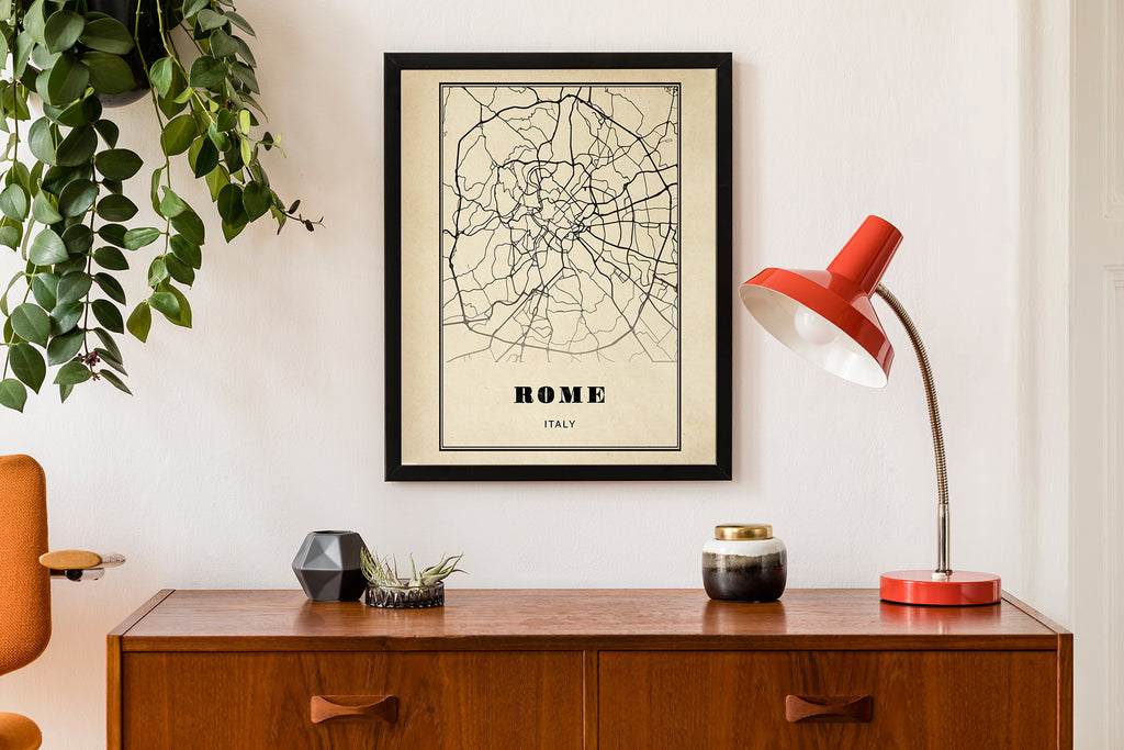 Rome City Map Sepia Poster