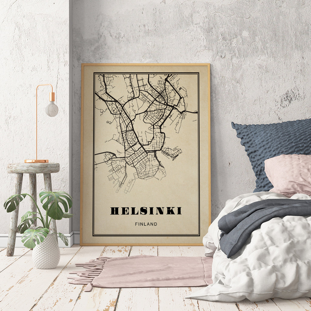 Helsinki City Map Sepia Poster