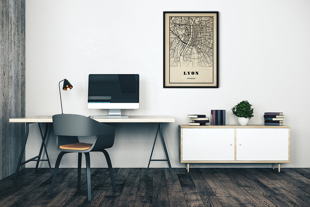Lyon City Map Sepia Poster