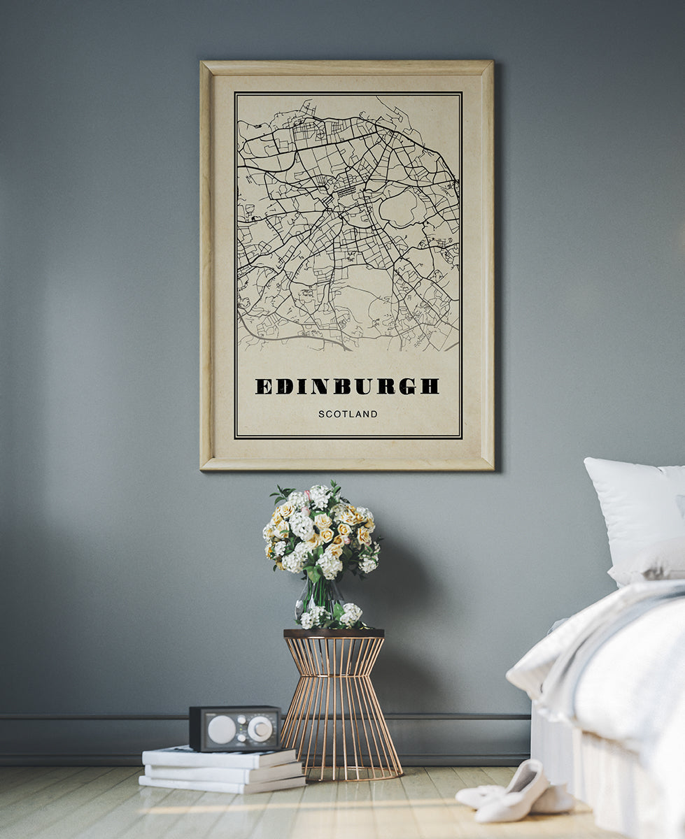 Edinburgh City Map Sepia Poster