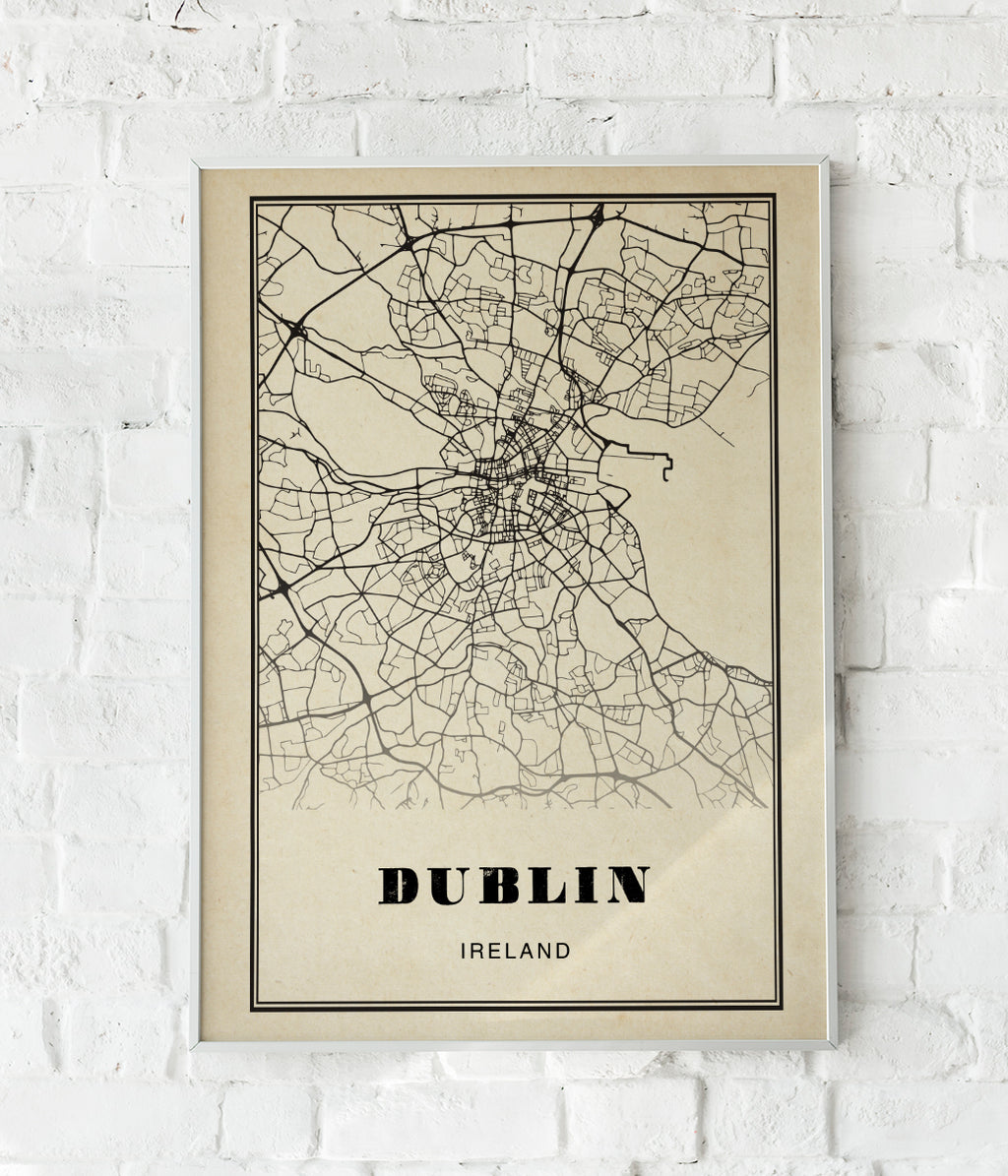 Dublin City Map Sepia Poster