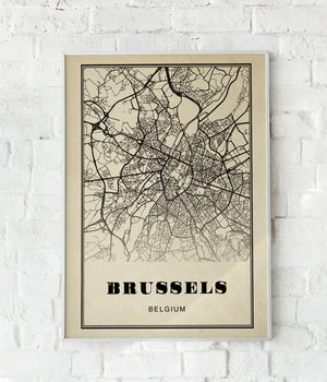 Brussels City Map Sepia Poster