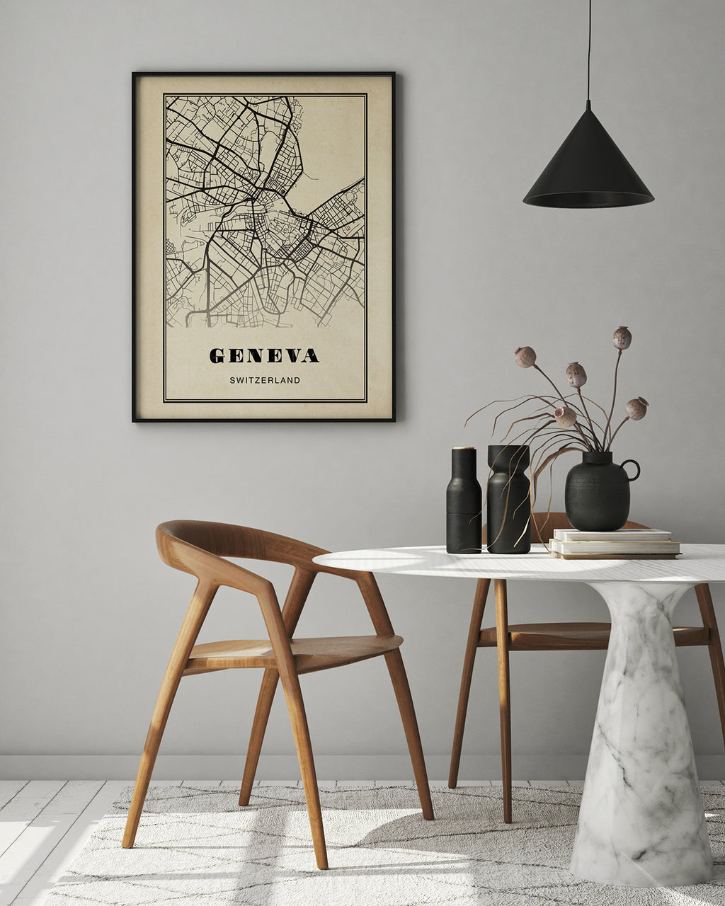Geneva City Map Sepia Poster