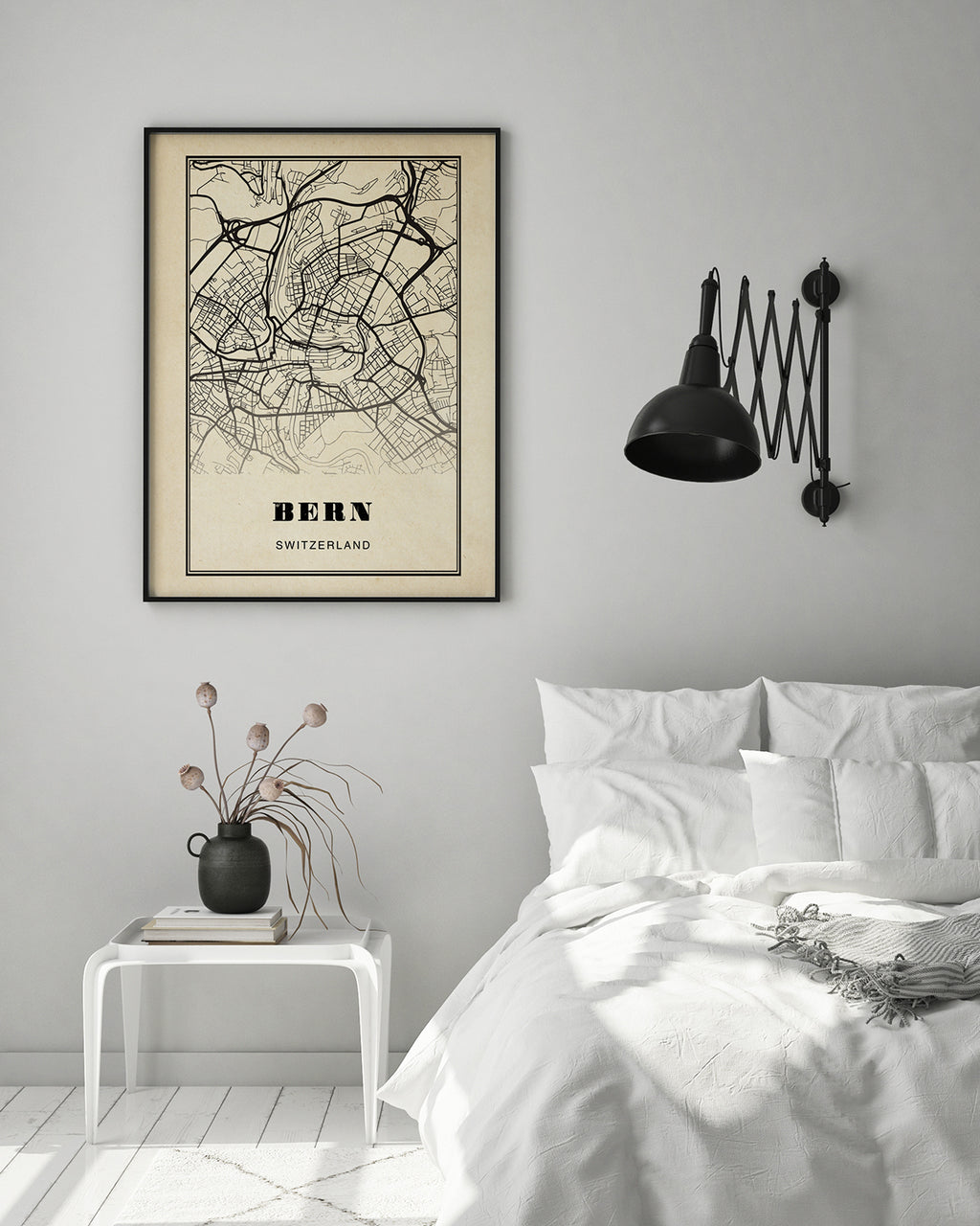 Bern City Map Sepia Poster