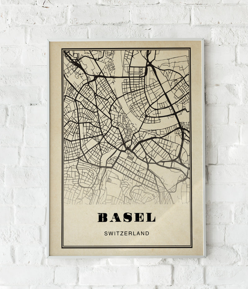 Basel City Map Sepia Poster